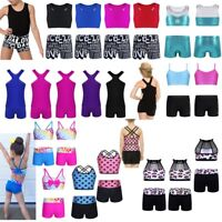 Girls Dance Outfit Ballet Gymnastics Crop Top+Shorts Set Sports Dancewear 2Pcs