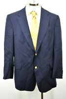 Hart Schaffner Marx Mens Navy Blue Suit Jacket USA Made Gold Buttons 46R