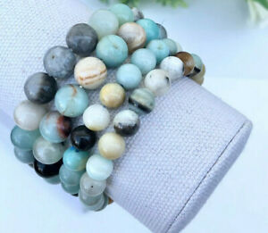 Faceted Amazonite 10mm beaded Bracelet with Sterling Bead