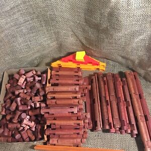Lincoln Logs Lot Of 194 Logs Flats Short Roof Eaves Chimney Mixed Assortment