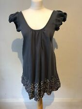 ANTIK BATIK Teal Essence Bleu Blouse sequin perle de verre Blouse Mini Robe M 10