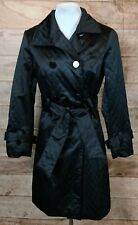 Women's B. Moss Black Belted Quilted Trench Coat/Jacket Sz S NWT $179