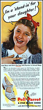 1946 young Girl Poll-Parrot shoes pre tester retro photo print ad L82