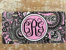 Paisley Personalized Monogrammed License Plate Car Tag Initials Custom New Pink