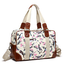Birds Floral Oilcloth Ladies DESIGNER Handbag Shoulder Tote SHOPPER Bag Large Beige
