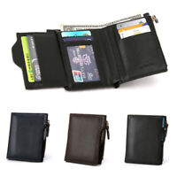 Men PU Short Money Clip Bifold Wallet Coin Purse ID Card Credit Pouch CA