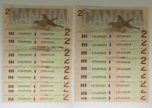 Canada 1986 Two Dollar Banknotes $2 Bill  EGR/EGF SAME SERIAL NUMBER Consecutive