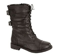Lucky Top PACK-72K Kid's Girl Classical Lace Up Buckle Combat Mid Calf Boots