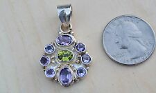 """Amethyst Peridot faceted Pendant Round Sterling silver .925 Natural Stone 1.5"""""""