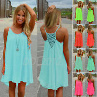 Women Spaghetti Strap Back Howllow Out Chiffon Beach Short Dress Plus Size S-3XL