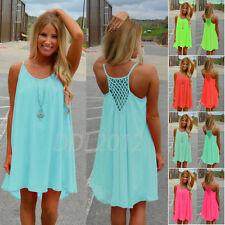 Women Spaghetti Strap Back Howllow Out Chiffon Beach Short Dress Plus Size S-3XL