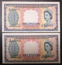 2 British Straits Malaya & Borneo $1 one dollar 1953 QEII, AUNC / EF Consecutive