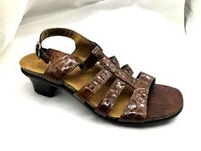 $145 Allegro croc brown patent leather 8.5 womens ladies sandals shoes  L3810152