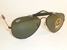 New  RAY BAN Aviator Outdoorsman Black Leather  RB 3422Q 9040  G-15 Green Lenses
