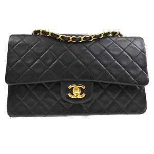 CHANEL Classic Double Flap Medium Chain Shoulder Bag 1468518 umi Black 70240