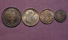 1902 Rey Eduardo VII Set Santo monedas - 4d a 1d