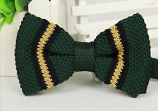 Striped Bowtie Knit Knitted Pre Tied Bow Tie Woven ZZBW218 Mens Khaki Dark Green
