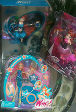 LOT OF 5 WINX CLUB BLOOMS Dolls SDCC 2012 SILVER & BLUE exclusive Pink Enchantix