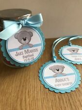 Teddy Bear Personalised Thank you Tags~Blue~Birthday, Baby Shower, Christening