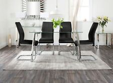 Cosmo Chrome Metal And Glass Dining Table And 4 Lorenzo Chairs