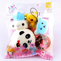 5pcs Jumbo Medium Mini Random Squishy Soft Panda/Cake/Bread/Bun Phone Strap Toy