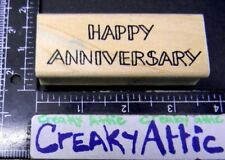 Happy Anniversary Open Lined Rubber Stamp Azadi Earles E940