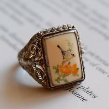 Vintage Chinese filigree handmade silver ring with hand-painted porcelain 60's