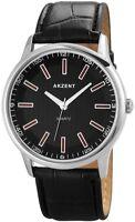 Akzent Herrenuhr Schwarz Silber Analog Kunst-Leder Armbanduhr XSS7221100049