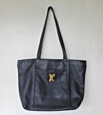 ITALY PALOMA PICASSO Genuine Soft Leather Large Zippered Tote Bag VINTAGE BLACK
