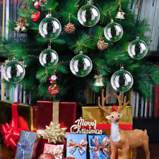 10X Clear Plastic Ball Baubles Sphere Fillable Christmas Tree Ornament Xmas Lot