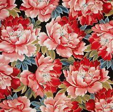 Cuarto gordo Sakura Metálico Oriental Flores Gallo Rojo negro FQ tela de algodón