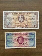Lot of 2 Banknotes - 1937 Bermuda 5 Shilling & 1939 Malta 1 Shilling CIRCULATED