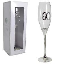 Glamorous Diamante Silver Plated 60th Birthday Prosecco Glass Champagne Flute