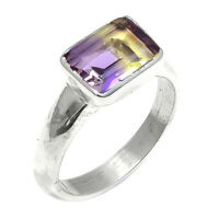 Natural Square Ametrine Gemstone Handmade 925 Sterling Silver Ring Size 8 SR-885