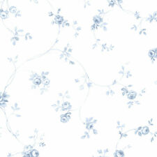 Delft Rose Wallpaper Light Blue, Blue Norwall Wallcovering PR33826
