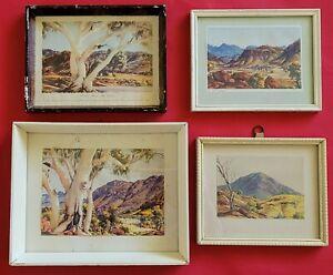 Albert Namatjira - Vintage 4x Small Framed Watercolor Prints - Berwick