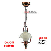 American swag COPPER bright battery operated LED LAMP Dollhouse miniature light
