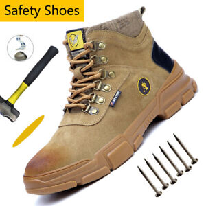 MENS OUTDOOR STEEL TOE CAP SAFETY WORK HIKING TRAINERS SHOES LEATHER BOOTS SIZE