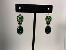 """Silpada K&R Brass """"Emerald Envy"""" Green Crystal Dangle Earrings(E27 )  KRW0037"""