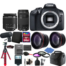 Canon EOS Rebel 1300D/T6 D-SLR Camera 4 Lens Complete Accessory Kit + Microphone