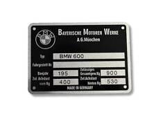 BMW 600 Typenschild Schild id plate