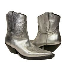MAISON MARGIELA Metallic Cowboy Western Leather Ankle Boots 37 (MSRP $1,245)