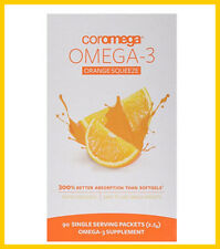 Coromega Omega-3 Supplement, Orange Flavor, Squeeze Packets, 90-Count Box New