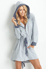 Ladies Soft Short Length Hooded Dressing Gown House Coat With Zip Front Antracite 36