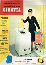 D- Publicité Advertising 1959 La Machine à laver Giravia Frigeavia Teleavia