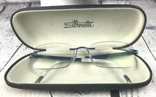Silhouette Titan Prescription Rimless Titanium Eyeglass Frames Case Blue Austria