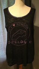 "NWT I HEART RONSON ""FOREIGNER"" BLACK BURNOUT GRAPHIC DETAIL WITH METAL DETAILS"