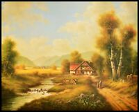Pila Bauernhof mit Kühen Poster Kunstdruck Bild im Alu Rahmen schwarz 40x50cm