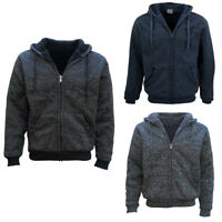 Men's Thick Zip Up Hooded Hoodie w Winter Sherpa Fur Jumper Coat Jacket Sweater