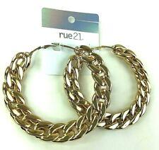 Rue21 Earrings Big Gold Braided Hoops NEW